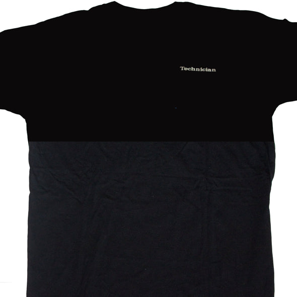 Mid-weight tee shirt with screen printed logos on front and back.