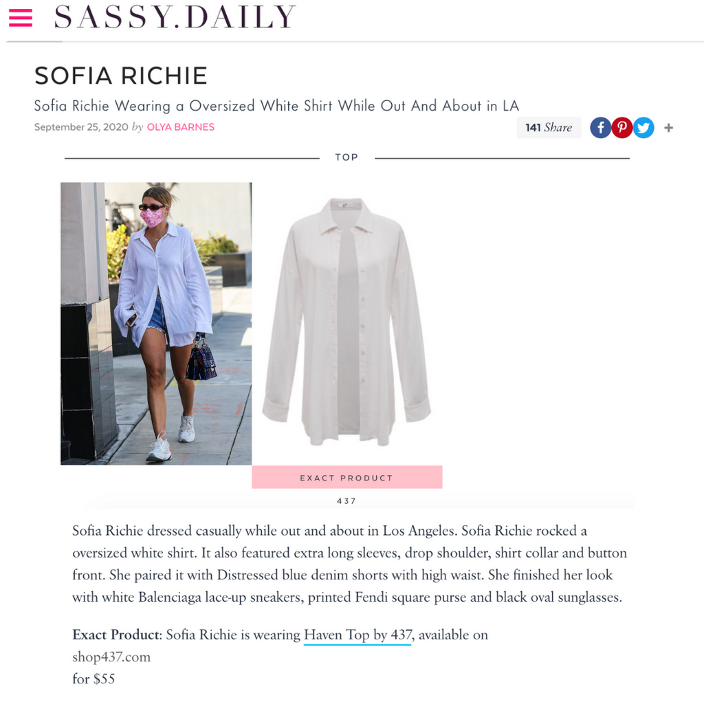 SASSY DAILY: Sofia Richie wears a white oversized shirt
