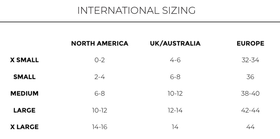 International Sizing