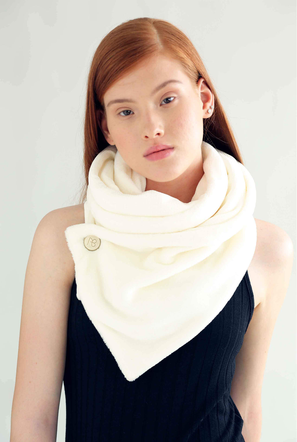 Double-Sided White Fur Scarf Aurora