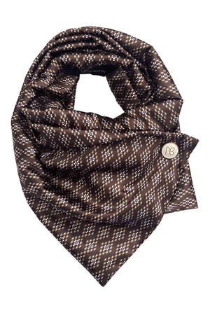 Brown Pixelated Satin Scarf Bonita