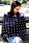 Double Sided Nursing Cover With Boning - Black And Pink Kitty Print - The Perfect Birth Gift