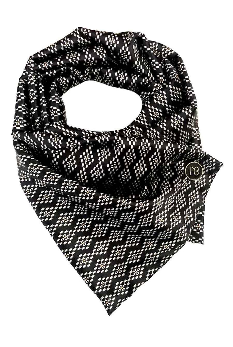 Black Pixelated Satin Scarf Margarita
