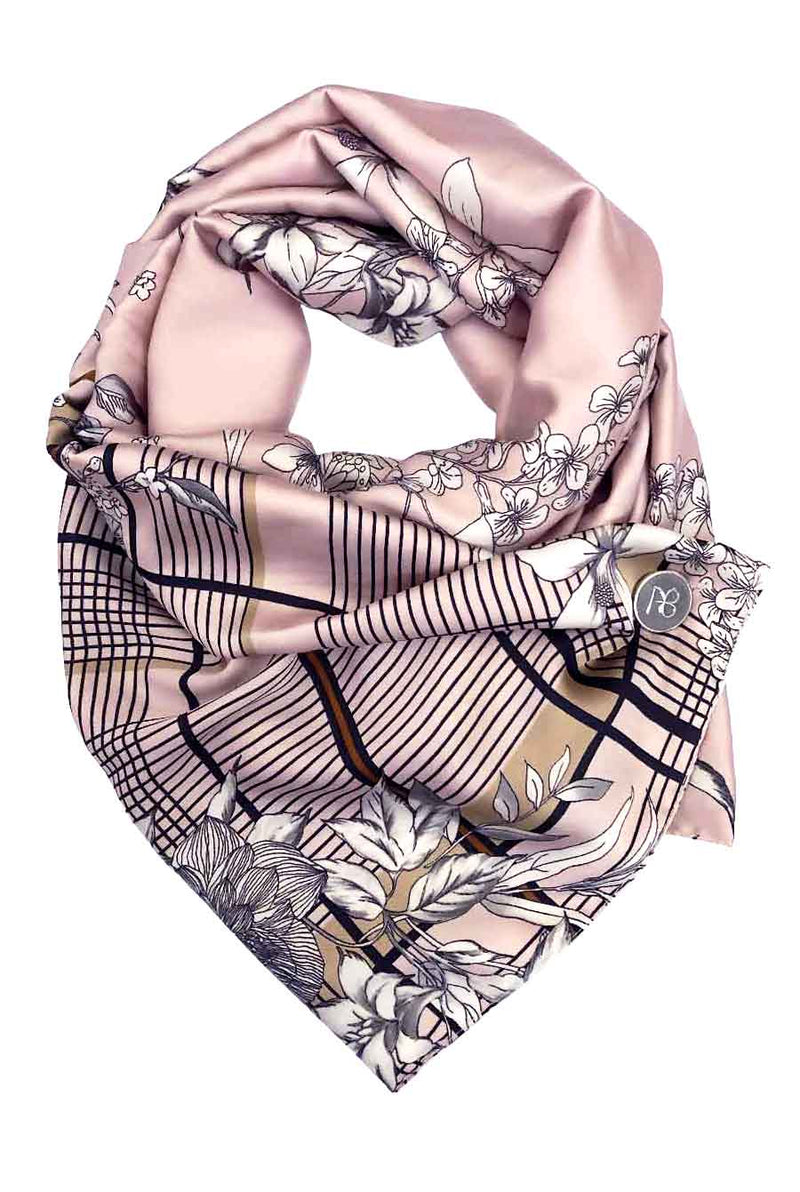 Pink Floral Satin Scarf Maria