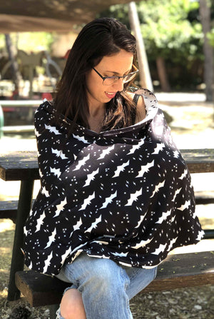Double Sided Nursing Cover With Boning - Black And White Bats Print - The Best Birth Gift Ever