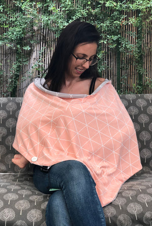 Double Sided Nursing Cover With Boning - Geometric Print In Gray And Peachy Pink - An Original Birth Gift
