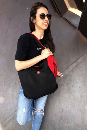 Red and Black Double-Sided Bag + Headband - Ruby