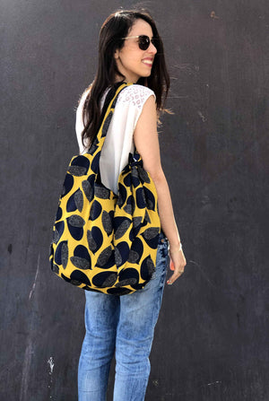 Double-Sided Bag + Headband - Mustard With Blue Birds Print Fiona
