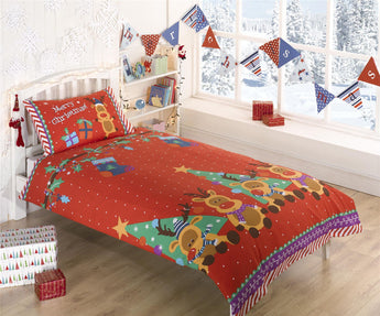 Kid's Christmas Reindeer Christmas Bedding