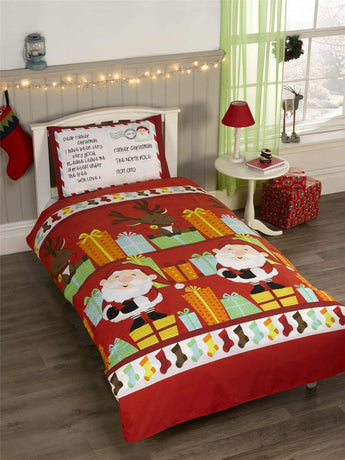 Kid's Xmas Santa's List Christmas Bedding