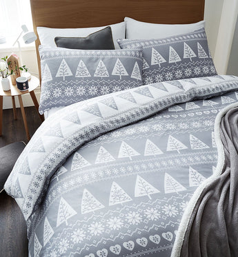 Nordic Trees Grey Christmas Bedding