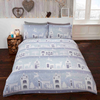 Brushed Reindeer Road Silver Christmas Bedding