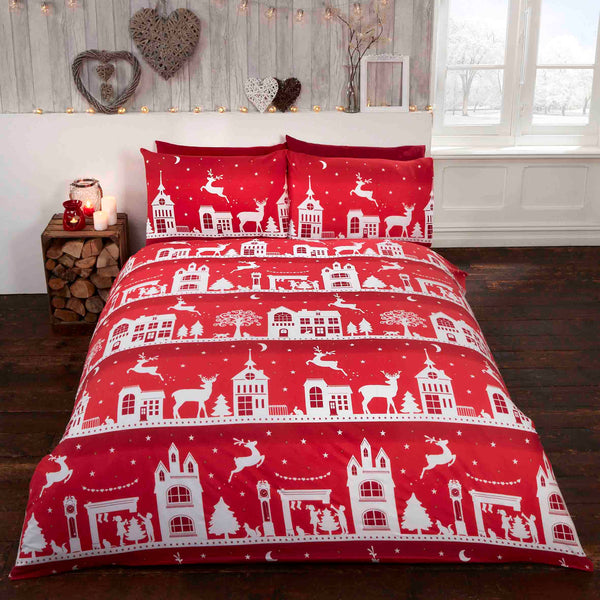 Brushed Reindeer Road Red Christmas Bedding