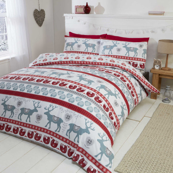 Scandi Brushed Cotton Red Christmas Bedding