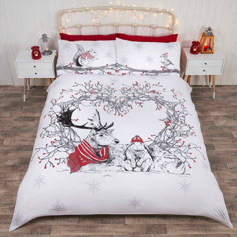 Stag & Friends Red Christmas Bedding
