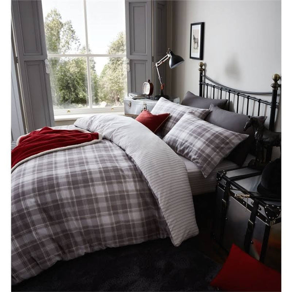 Tartan Brushed Grey Bedding