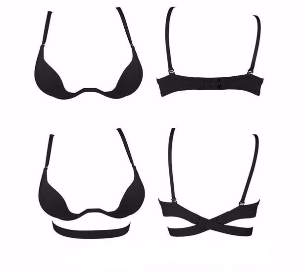 Deep U multiway convertible low cut push-up plunge bra - black - Paprika Belle