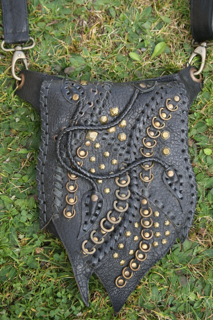 "Leather biker bag ""wild heart"" crossbody black handmade shoulder bag"