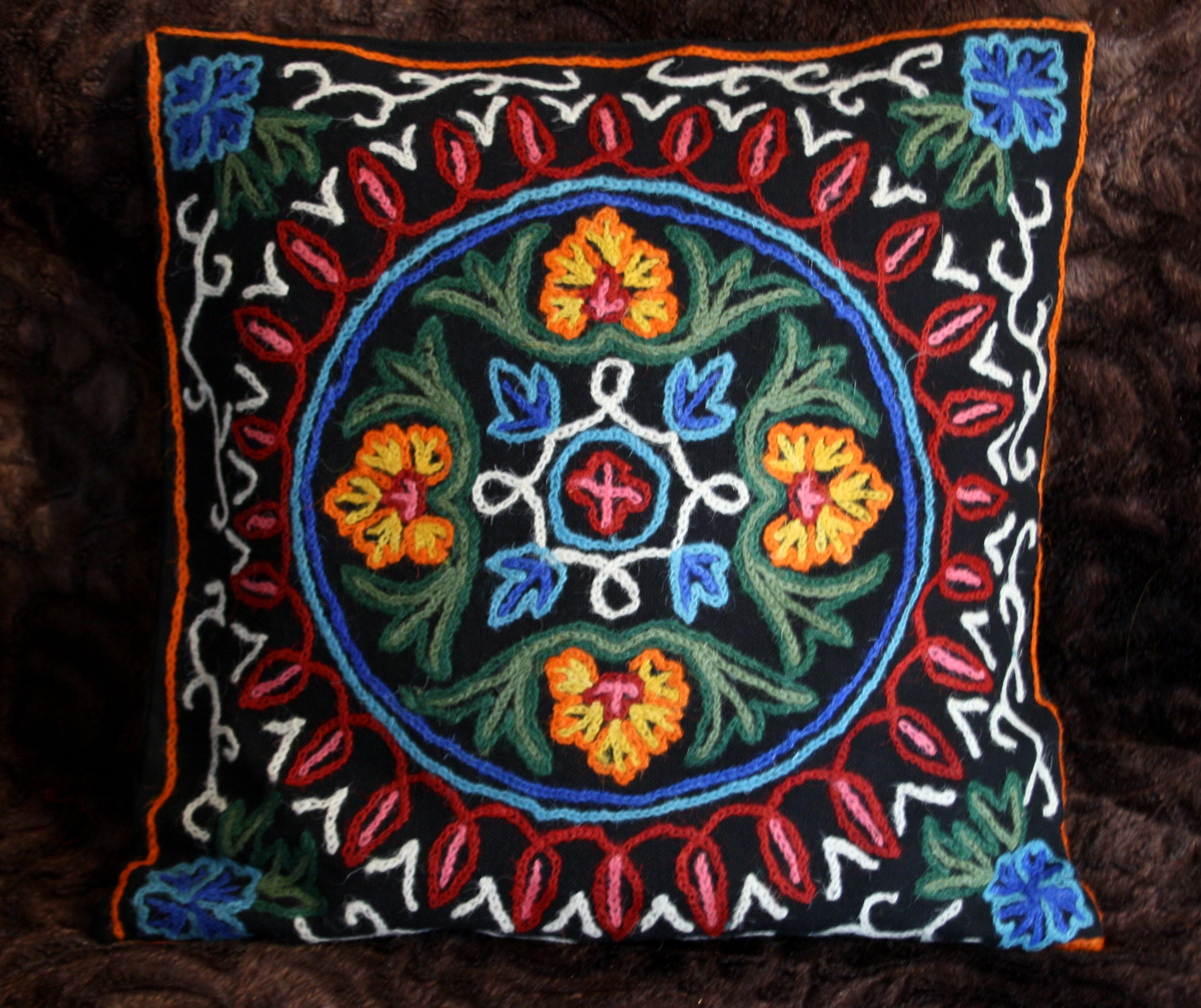 Kashmiri Crewel - hand embroidered cushion cover - pillow case bohemian decor - boho decorative cushion
