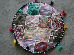 Floor pouf - floor cushion cover - Indian floor seating - patchwork floor pillow White