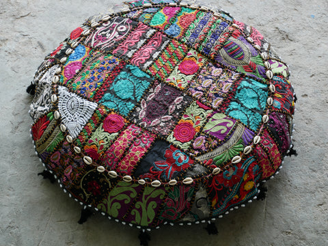 "Large floor cushion ""Arabian Nights"" round patchwork cushion cover Boho floor pillow gypsy decor"