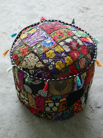 Floor pouf - floor cushion cover - Indian floor seating - patchwork floor pillow - black or red