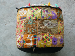 "Floor pouf - floor cushion cover - Indian floor seating - patchwork floor pillow - ""Masala"""