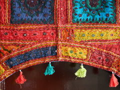 "Door hanging - Toran  - gypsy curtain ""Desert Flower"" window valance, Indian Boho wall decor"