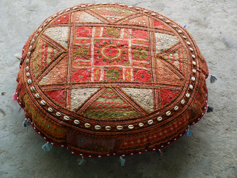 "Large floor cushion ""Colors of the desert life"" - gypsy round cushion cover"
