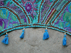 "Door hanging - Toran - gypsy curtain ""Boho blue"" window valance, Indian Bohemian wall decor"