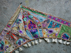 Large patchwork gypsy toran - large window valance indian door hanging - ethnic tribal curtain