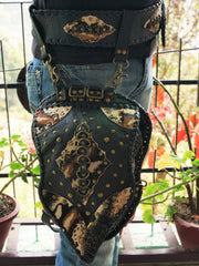 Leather thigh holster 4in1 leather thigh bag burning man festival bag