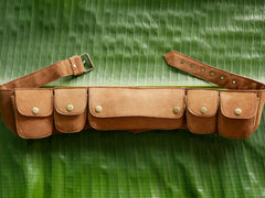 Leather utility belt - 5 pockets belt  - sued leather hip bag- Goa - Festival belt - boho chic