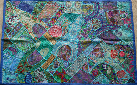 "Wall decor Bohemian tapestry patchwork wall hanging ""blue treasure"" Indian colorful wall tapestry"