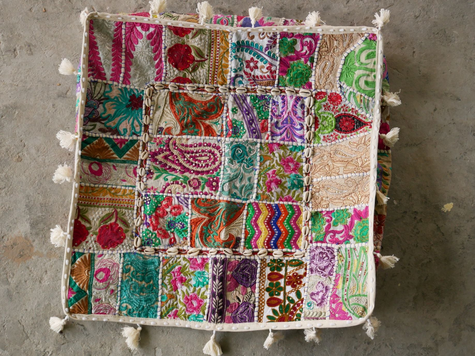 "Large square boho floor cushion ""Bohemian White"" - bohemian decor cushion cover"