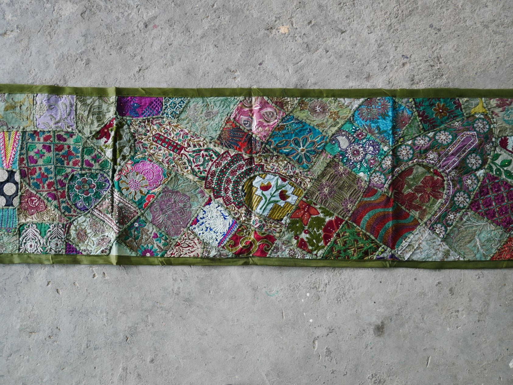 "Table runner - vintage saree tapestry - ""Boho forest"" green wall hanging- hippie home decor"