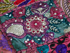 Table runner - vintage saree tapestry - red wall hanging- hippie home decor