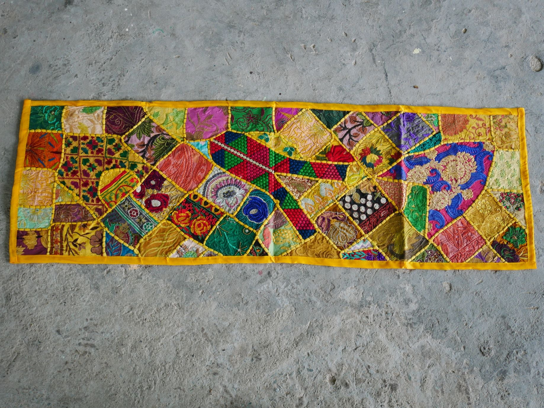 Table runner - vintage saree tapestry - yellow wall hanging- hippie home decor