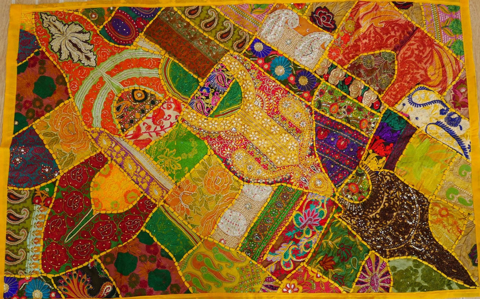 """Wall Decor Indian Patchwork Tapestry """"happy Hippie"""