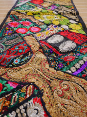 Table runner - vintage saree tapestry - black wall hanging- hippie home decor