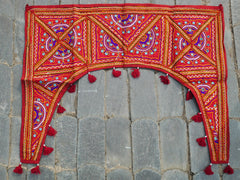 Door Hanging Gypsy curtain Indian toran, patchwork red handmade door valence, window decor,
