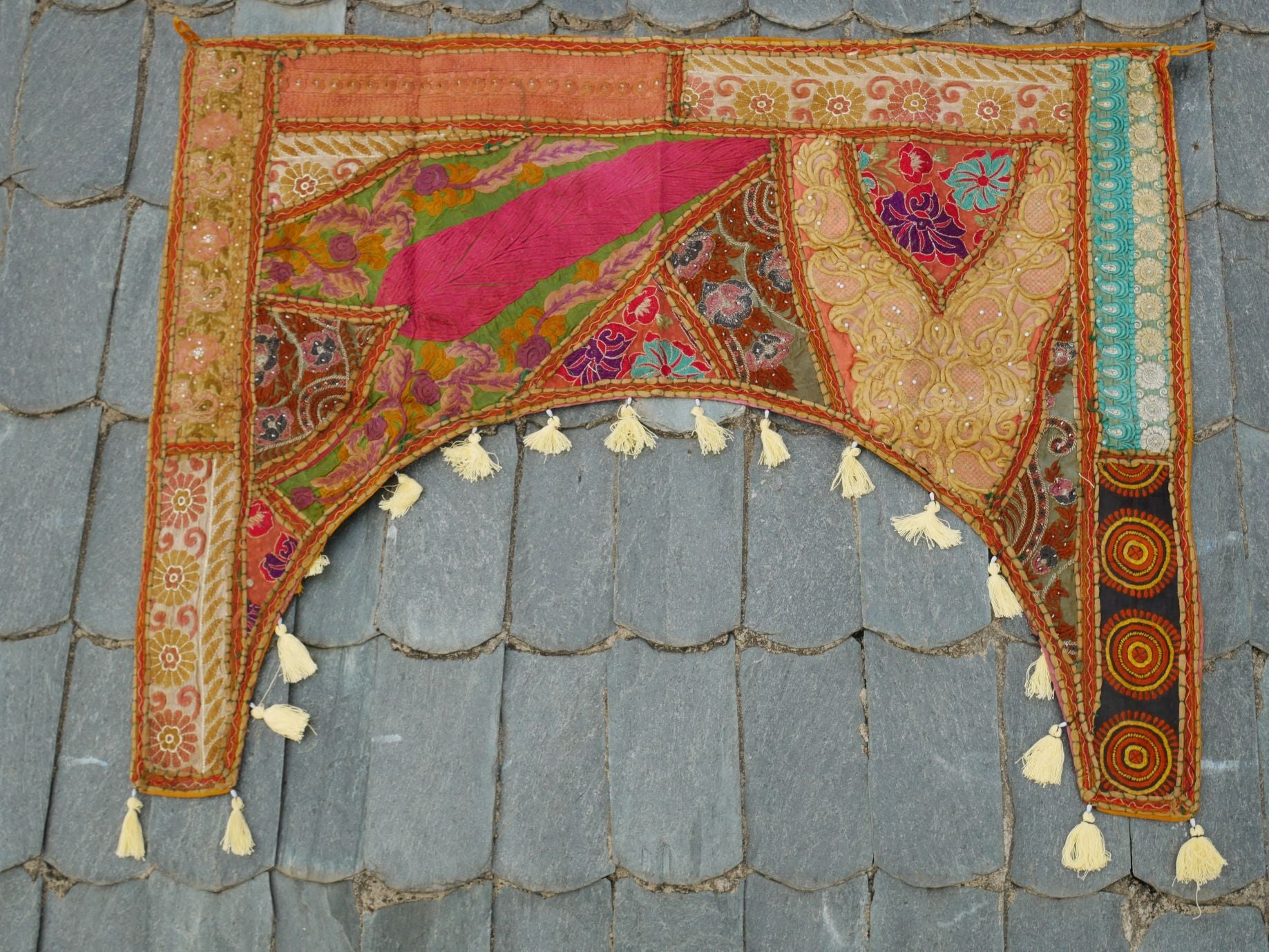 "Door hanging - Toran  - gypsy curtain ""Masala"" window valance, Indian Boho wall decor"