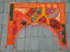 "Door hanging - Toran - gypsy curtain ""Orange Bliss"" window valance, Indian Boho wall decor"