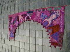 Large patchwork gypsy toran - purple window valance indian door hanging - ethnic tribal curtain