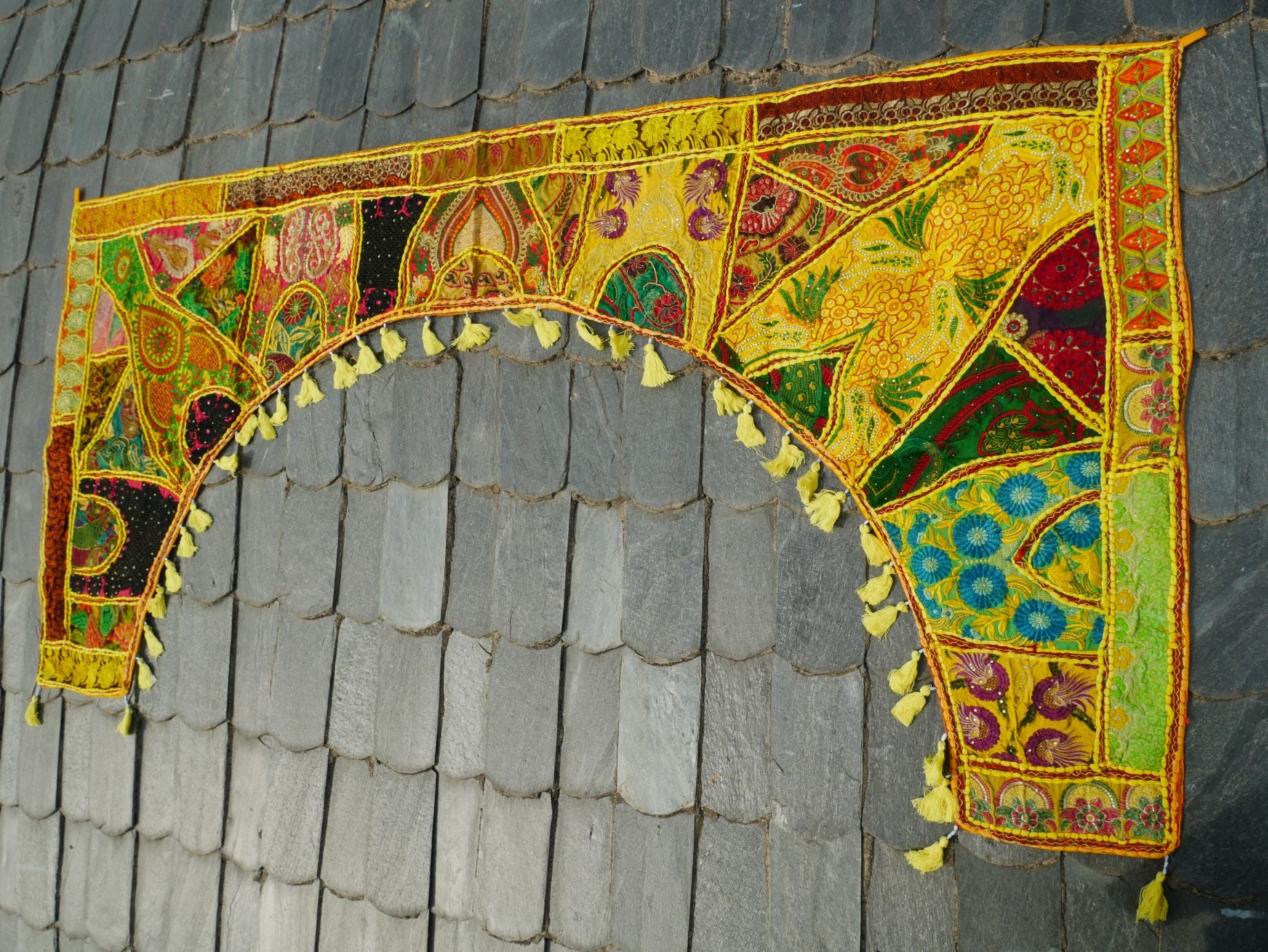Large patchwork gypsy toran - yellow window valance indian door hanging - ethnic tribal curtain