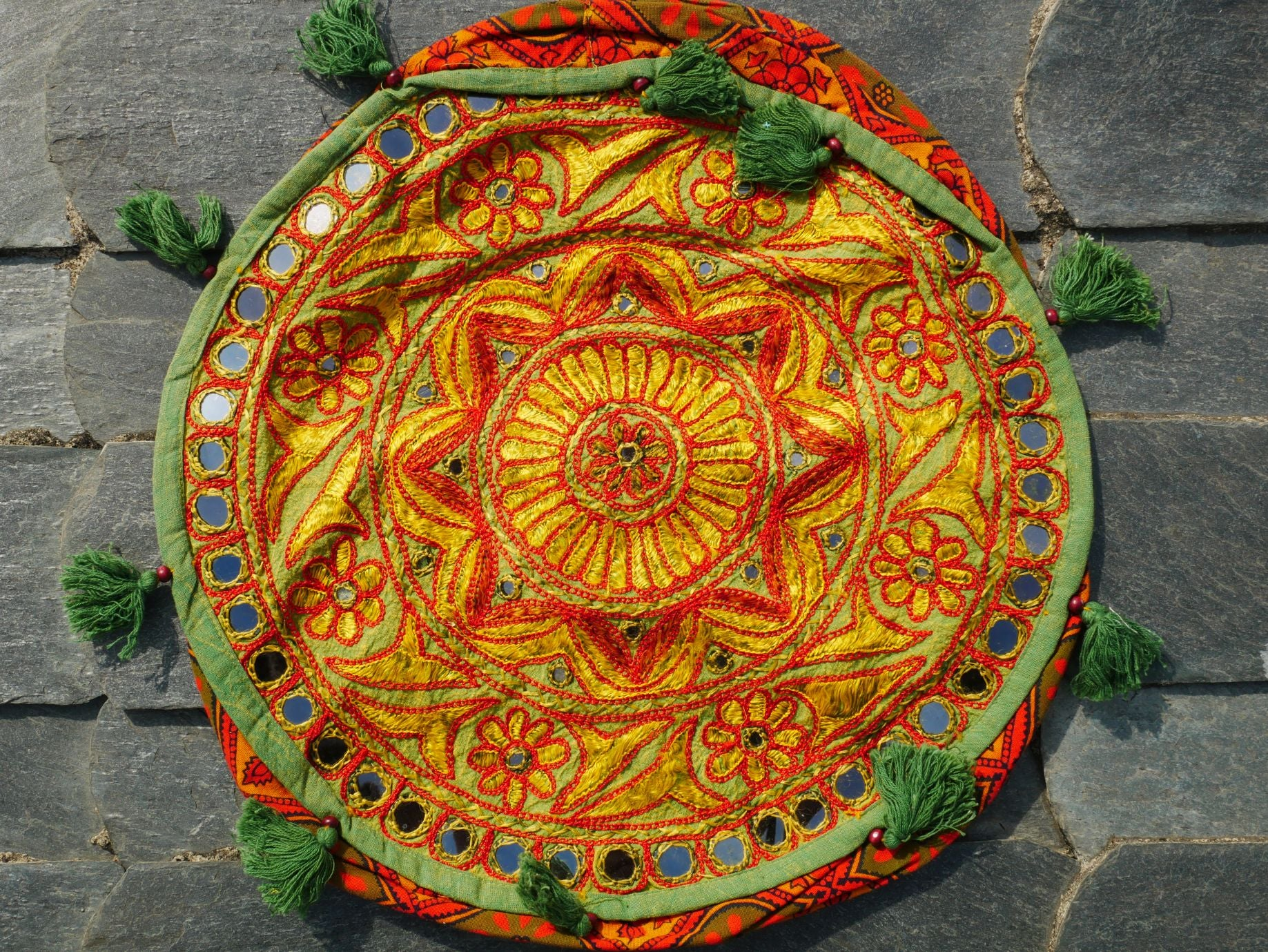 Meditation cushion - round floor cushion - embroidered cushion - boho floor pillow - Mandala