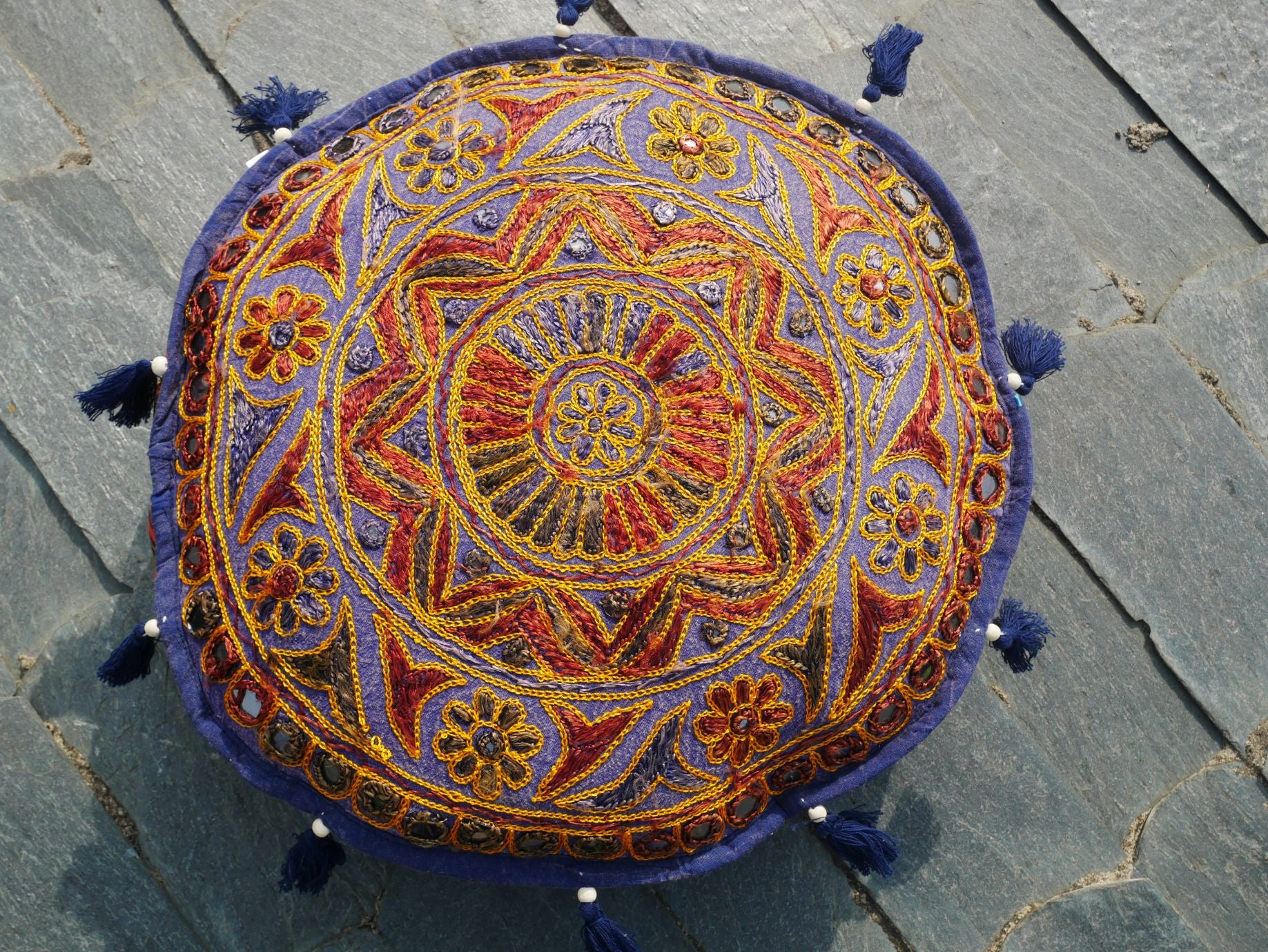 Meditation cushion - round floor cushion cover - embroidered cushion - boho floor pillow - Mandala