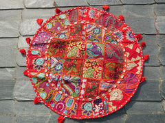 "Large floor cushion ""shanti love"" round patchwork cushion cover Boho floor pillow gypsy decor"