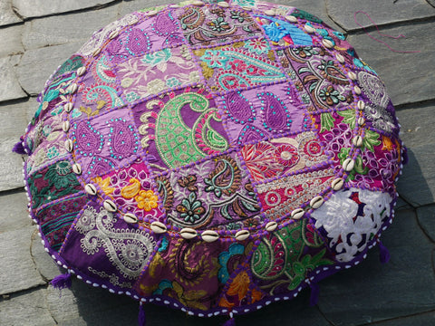 "Large floor cushion ""purple rain"" round patchwork cushion cover boho floor pillow gypsy decor"