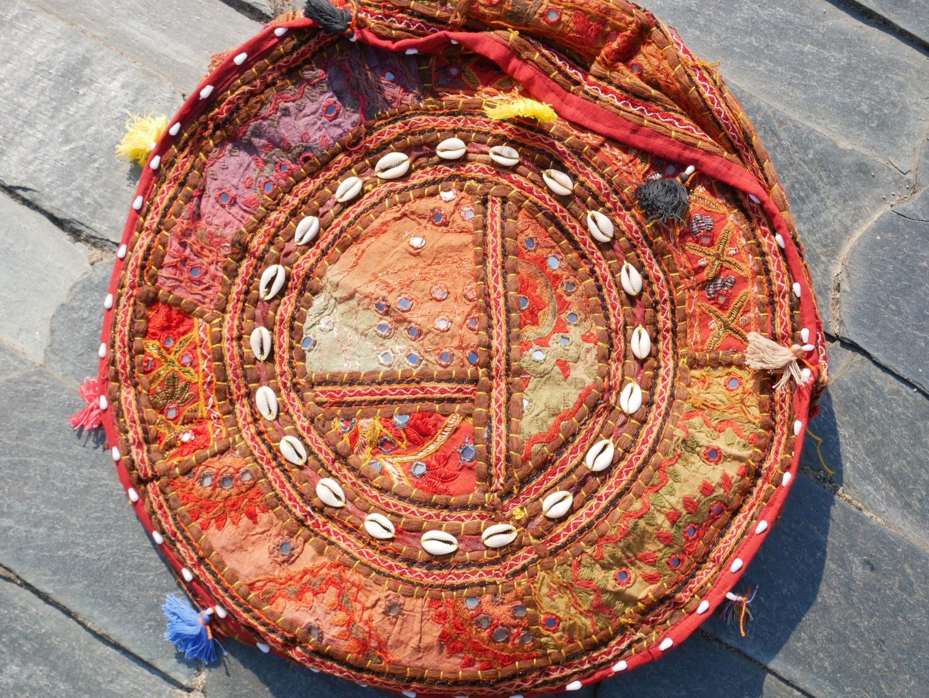 "Flour pouf floor cushion cover - ""Colors of the desert life""- bohemian floor seating - hippie gypsy home decor"